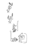 Little dog juggles his master's slippers  balances them on his nose  and t… - New Yorker Cartoon