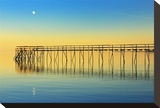 Pier and Moon at Sunset