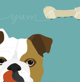 Peek-A-Boo: English Bulldog Reproduction d'art par Yuko Lau
