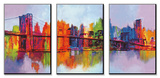 Manhattan abstrait, triptyque Ensemble d'art monté par Brian Carter