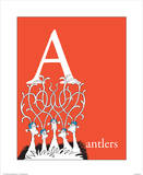A is for Antlers (red) Reproduction d'art par Theodor (Dr. Seuss) Geisel