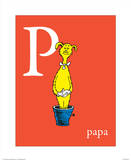 P is for Papa (red) Reproduction d'art par Theodor (Dr. Seuss) Geisel