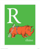 R is for Rhino (green) Reproduction d'art par Theodor (Dr. Seuss) Geisel