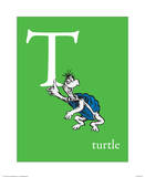 T is for Turtle (green) Reproduction d'art par Theodor (Dr. Seuss) Geisel