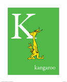 K is for Kangaroo (green) Reproduction d'art par Theodor (Dr. Seuss) Geisel