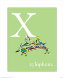 X is for Xylophone (green) Reproduction d'art par Theodor (Dr. Seuss) Geisel