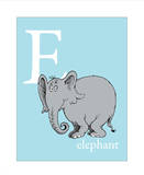 E is for Elephant (blue) Reproduction d'art par Theodor (Dr. Seuss) Geisel