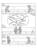 Three panels First: Two businessmen greet each other on the street Secon… - New Yorker Cartoon