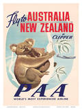 Fly to Australia and New Zealand c.1950s Reproduction d'art