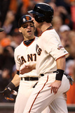 San Francisco  CA - Oct 22: Giants v Cardinals - Marco Scutaro  Buster Posey and Hunter Pence