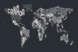 Text Map of the World Tableau sur toile par Michael Tompsett