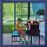 """""""Entrainement au piano devant la piscine"""", 11 Juin 1960 Reproduction giclée encadrée par George Hughes"""