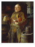 Monk in the Cloister Brewery with Beer Stein as Well as White and Red Radishes  1889