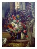 Vase Mit Blumen Auf Einer Konsole