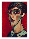 Elongated Head of a Woman in Brown-Red  1913