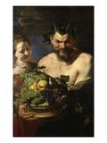Satyr Und Maedchen Mit Fruechtekorb Lwd  112 5 X 71 Cm