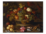 A Still Life of Grapes  Apples  a Peach and Plums in a Basket with Lily of Valley