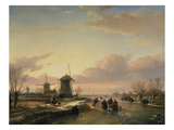 Wintery River Landscape with Skaters and Windmills