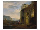 Italian Landscape with Ruins of an Aqueduct  1675