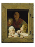 Peasant Woman with Three Children at the Window  1840