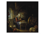 Old Woman at Prayer before Her Meal  about 1645