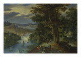 Wooded River Landscape with Walkers and Sailing Boats