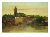 View of Frankfurt Am Main from Sachsenhausen  with the Old Bridge  1858