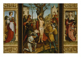 St Sebastian&#39;s Altarpiece: Ss Barbara and Elizabeth  Martyrdom of S Sebastian