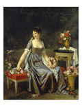 Portrait of a Lady  Surrounded by Flowers