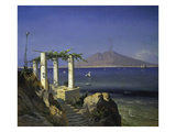 View from Capri across the Gulf of Naples to Mt Vesuvius  1868
