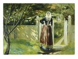 Frau in Daenischer Tracht Am Gartentor  1902