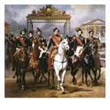 Louis Philippe Und Seine Soehne Zu Pferde Beim Verlassen Von Schloss Versailles