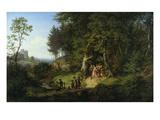 Brautzug in Einer Fruehlingslandschaft  1847