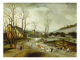 Winter Landscape with Caravan and Peasants Cutting Trees