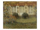 Gartenhaus Und Sonnenblumen