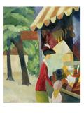 Vor Dem Hutladen (Frau Mit Roter Jacke Und Kind)  1913