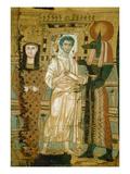 Juengling Im Totengewand Links Seine Mumie Als Osiris  Rechts Gott Anubis
