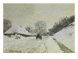 Waggon on Snow-Covered Street in Honfleur  about 1867