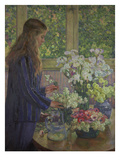 Girl Arranging Garden Flowers