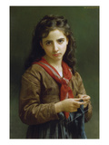 Young Girl Knitting  1874