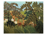 Exotische Landschaft Mit Spielenden Affen  1910