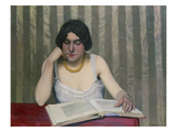 Woman Reading with Yellow Necklace  1912