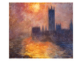 The Parliament Building in London During Sunset  1904