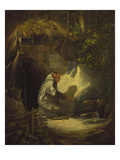 Hermit  Roasting a Chicken  1841