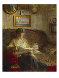 An Interior with a Woman Reading on a Sofa