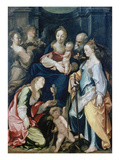 Holy Family with Angels  as Well as the Saints Barbara and Catherine  about 1600