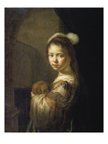 Girl with Little Dog in Her Arms