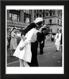 US Sailor Bending Young Nurse over His Arm to Give Her Passionate Kiss in Middle of Times Square