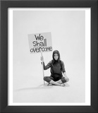 Writer Gloria Steinem Sitting on Floor with Sign &quot;We Shall Overcome&quot; Regarding Pop Culture