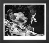 Senator John F Kennedy and Bride Jacqueline Enjoying Dinner at Their Outdoor Wedding Celebration